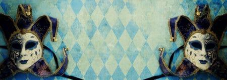 bandera del azul con el fondo veneciano tradicional elegante del oro foto de archivo