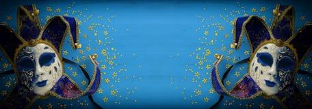 bandera del azul con el fondo veneciano tradicional elegante del oro imágenes de archivo libres de regalías
