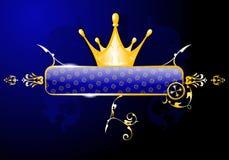 Bandera del azul del resplandor de la corona del oro Foto de archivo libre de regalías