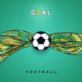 Bandera del balón de fútbol con el fondo Requisito del balompié ball Fotografía de archivo