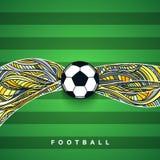 Bandera del balón de fútbol con el fondo Requisito del balompié ball Fotos de archivo