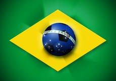 Bandera del balón de fútbol del Brasil stock de ilustración