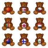 Bandera del balón de fútbol del oso Imágenes de archivo libres de regalías