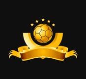 Bandera del balompié del oro Stock de ilustración
