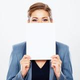 Bandera del blanco del espacio en blanco de la mujer de negocios Foto de archivo