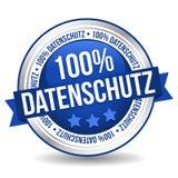 Bandera del botón de la insignia - datos del 100% protegidos - Alemán-traducción: Datenschutz 100% stock de ilustración