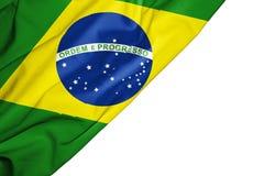 Bandera del Brasil de la tela con el copyspace para su texto en el fondo blanco ilustración del vector