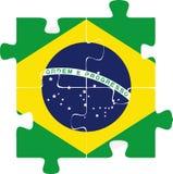 Bandera del Brasil en rompecabezas Fotografía de archivo libre de regalías