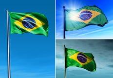 Bandera del Brasil que agita en el viento Fotos de archivo