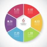 Bandera del círculo de Infographic Vector la plantilla con 6 pasos, piezas, opciones Imágenes de archivo libres de regalías