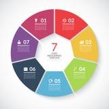 Bandera del círculo de Infographic Vector la plantilla con 7 pasos, piezas, opciones Imágenes de archivo libres de regalías