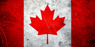 Bandera del canadiense del Grunge Imágenes de archivo libres de regalías