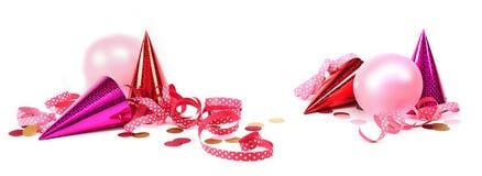 Bandera del carnaval con las decoraciones rosadas Fotos de archivo