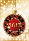 Bandera del casino de la Navidad con la viruta 2013 de póker stock de ilustración