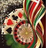 Bandera del casino de la Navidad con las tarjetas del póker Fotos de archivo