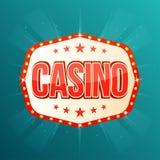 Bandera del casino Marco ligero retro con las lámparas que brillan intensamente Fotografía de archivo