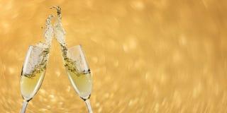 Bandera del champán de la tostada, Año Nuevo Foto de archivo