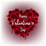 Bandera del Cinta-corazón del día del ` s de la tarjeta del día de San Valentín Fotos de archivo libres de regalías