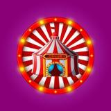 Bandera del circo con los bulbos brillantes Fotografía de archivo