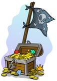 Bandera del cofre del tesoro y de pirata de la historieta stock de ilustración