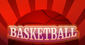 Bandera del concepto del baloncesto, estilo de la historieta stock de ilustración