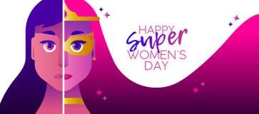Bandera 2018 del concepto de la heroína del día del ` s de las mujeres del super héroe stock de ilustración