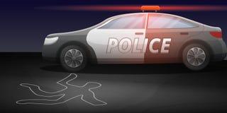 Bandera del concepto de la investigación del crimen del coche policía, estilo de la historieta stock de ilustración