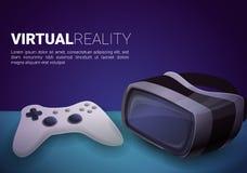 Bandera del concepto de las gafas de la realidad virtual, estilo de la historieta ilustración del vector