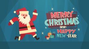 Bandera del concepto de los días de fiesta de Santa With Present Box Winter de la Feliz Navidad y de la tarjeta de felicitación d Fotos de archivo