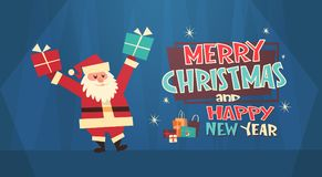 Bandera del concepto de los días de fiesta de Santa With Present Box Winter de la Feliz Navidad y de la tarjeta de felicitación d Imagen de archivo libre de regalías