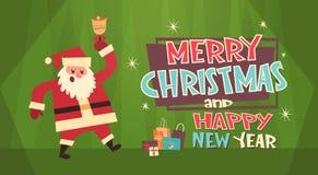 Bandera del concepto de los días de fiesta de Santa And Present Boxes Winter de la Feliz Navidad y de la tarjeta de felicitación  Imagen de archivo