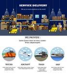 Bandera del concepto del servicio logístico y de entrega Cartel del interior de Warehouse Ejemplo del vector en diseño plano del  libre illustration