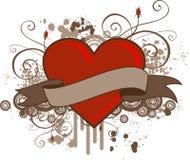 Bandera del corazón de Grunge stock de ilustración