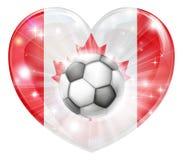Bandera del corazón del fútbol de Canadá Imagen de archivo libre de regalías