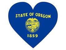 Bandera del corazón del estado de los E.E.U.U. de Oregon ilustración del vector