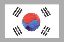 Bandera del coreano de la acuarela Ilustración del vector Imágenes de archivo libres de regalías