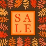 Bandera del cuadrado de la venta del otoño con la hoja del serbal Marco de hojas libre illustration