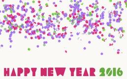 Bandera 2016 del día de fiesta del partido del confeti de la Feliz Año Nuevo Fotos de archivo libres de regalías