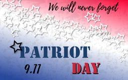 9 Bandera del día de 11 patriotas con el fondo de las letras y del extracto de la tipografía con colores de la bandera americana  Imagenes de archivo