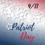 9 bandera del día de 11 patriotas con las letras de la tipografía y el fondo abstracto de la bandera americana Plantilla del cart Foto de archivo libre de regalías