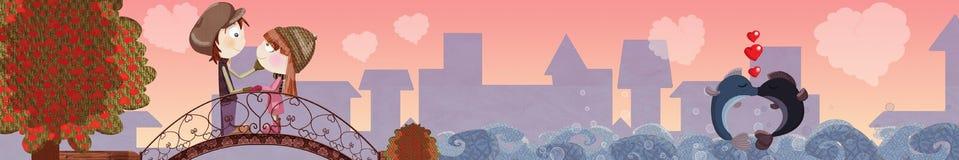 Bandera del día de tarjeta del día de San Valentín Fotos de archivo libres de regalías