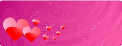 Bandera del día de tarjeta del día de San Valentín con los corazones rojos Imagenes de archivo