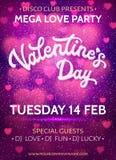 Bandera del día de tarjetas del día de San Valentín con los corazones y el brillo rosados Imagen de archivo libre de regalías