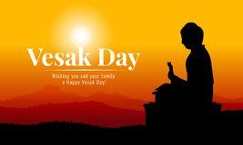 Bandera del día de Vesak con la estatua grande de Buda de la silueta en Mountain View en la igualación de diseño del vector del t ilustración del vector