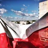 Bandera del día nacional Mirada artística en colores vivos del vintage Foto de archivo libre de regalías