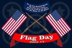 Bandera del d?a de la bandera Cartel para el cumplea?os del 14 de junio de barras y estrellas americanas Himno americano de los E stock de ilustración