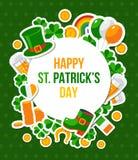 Bandera del día de Patricks del santo con el marco del círculo Foto de archivo libre de regalías