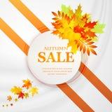 Bandera del descuento de la publicidad con las hojas caidas Mano de la venta del otoño dibujada Ilustración del vector Fotografía de archivo libre de regalías