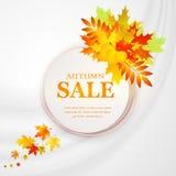 Bandera del descuento de la publicidad con las hojas caidas Mano de la venta del otoño dibujada Ilustración del vector Foto de archivo libre de regalías