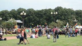 Bandera del desfile gay de la muchedumbre metrajes